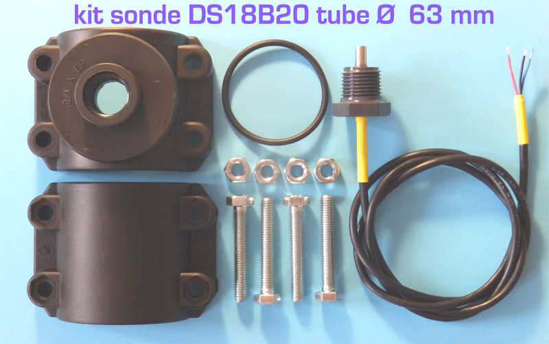 KIT SONDE DS18B20 COLLIER 63 mm